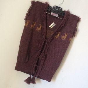 Macy's Jackets & Coats - Reindeer Tassel Tie Fringe Knit Vest